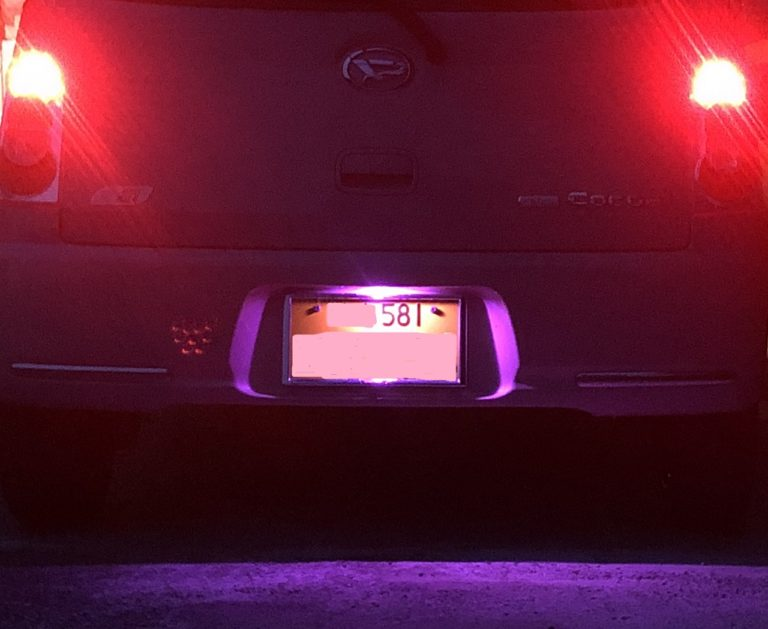 ミラココアのナンバー灯をLEDに交換